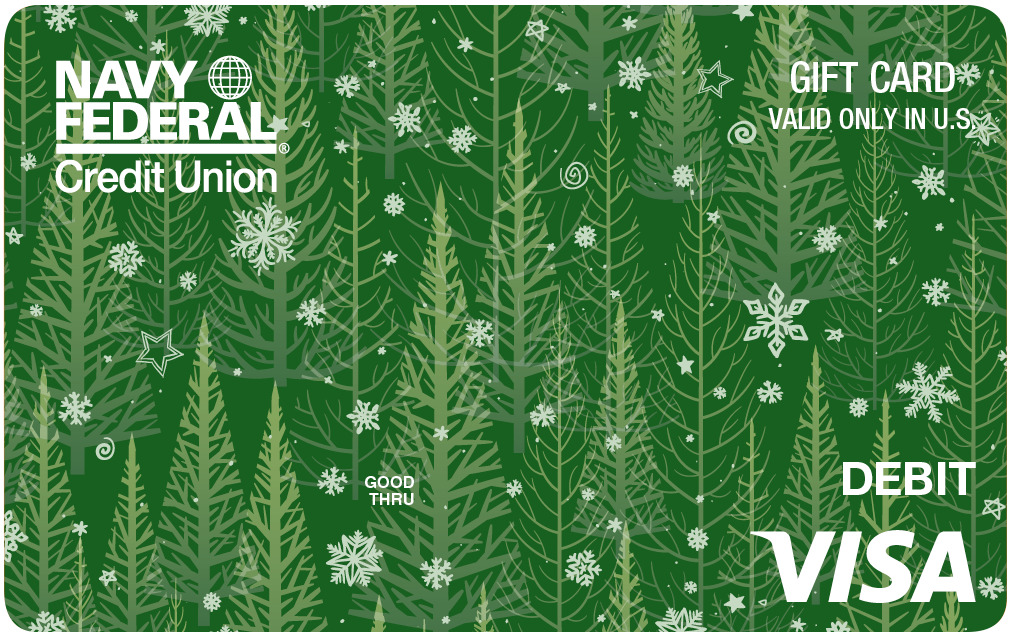 Navy Federal Gift Card with green pine trees and snow flakes
