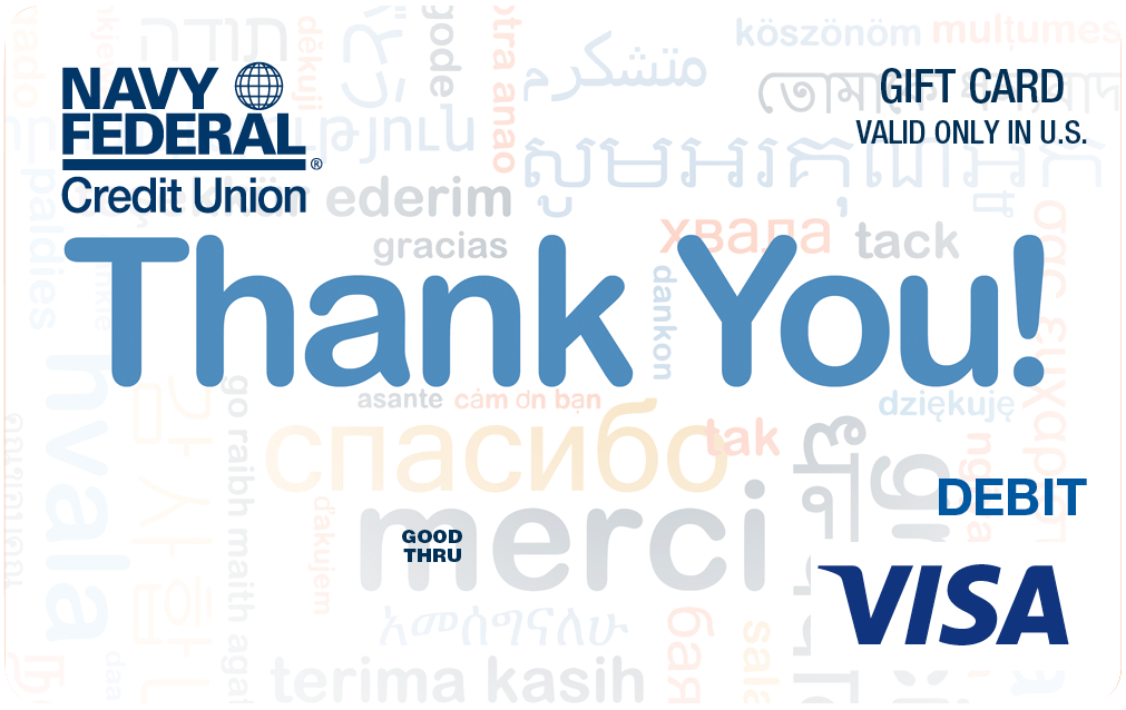 Navy Federal Gift Card with thank you written on the card face